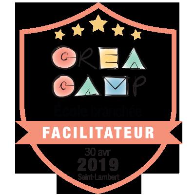 CréaCamp Saint-Lambert avril 2019 – Facilitateur badge émis à leblancc@feep.qc.ca